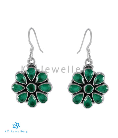 The Aamod Silver Gemstone Earrings (Green)