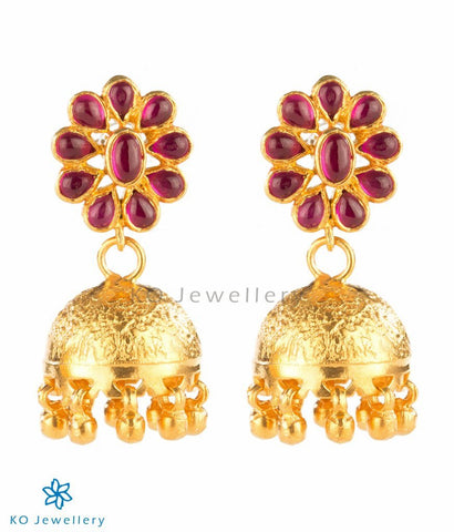 Medium-sized gold dipped temple jewellery jhumkas online