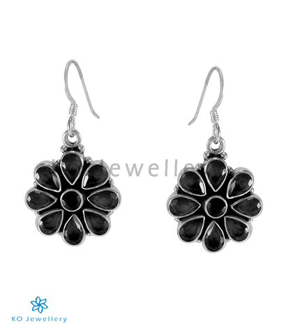 The Aamod Silver Gemstone Earrings (Black)
