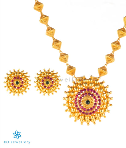 Buy temple jewellery real gold plated necklace set