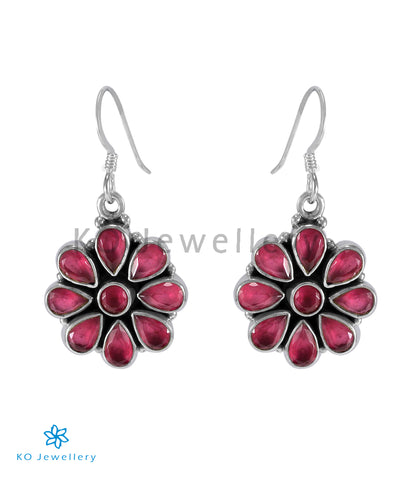 The Aamod Silver Gemstone Earrings (Red)