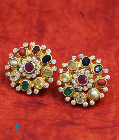 The Nishta Silver Earrings (Navratna)