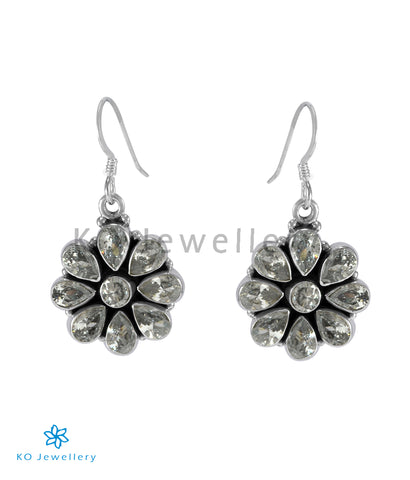 The Aamod Silver Gemstone Earrings (White)