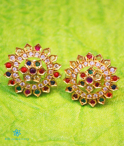 The Kumuda Silver Earrings (Navratna)