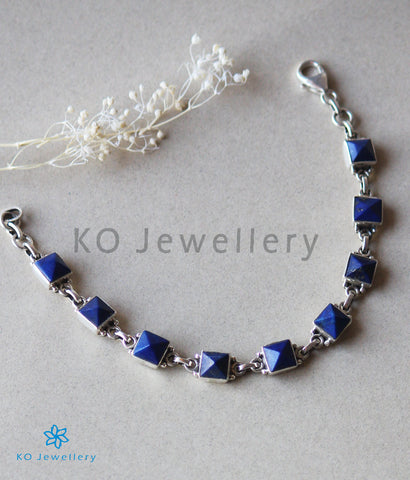 The Samay Silver Gemstone Bracelet(Blue)
