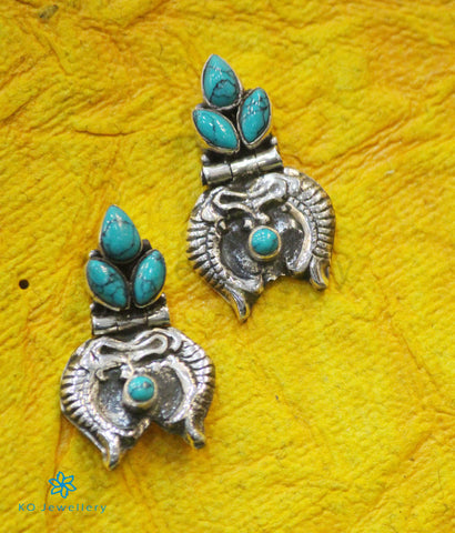 The Dhivara Silver Gemstone Fish Earrings (Turquoise)