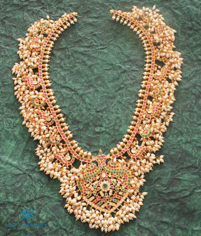 The Vrushali Silver Guttapusalu Peacock Necklace
