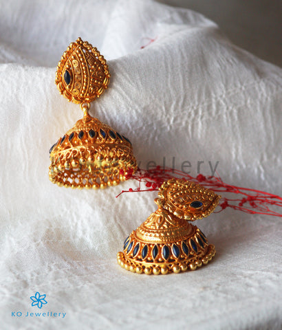 The Kamini Silver Kemp Jhumka (Blue)