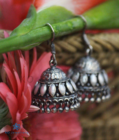 The Mithil Silver Pearl Jhumka (Oxidised/Hook)