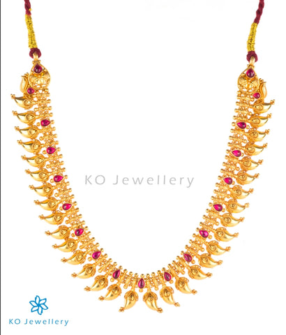 Antique temple jewellery gold plated necklace