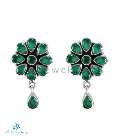 The Aamod Silver Gemstone Ear-stud (Green)