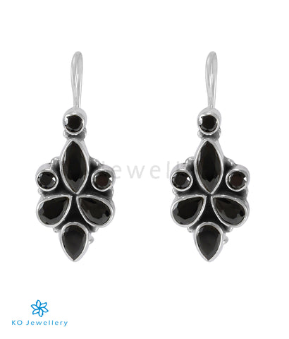 The Ragini Silver Gemstone Earrings (Black)