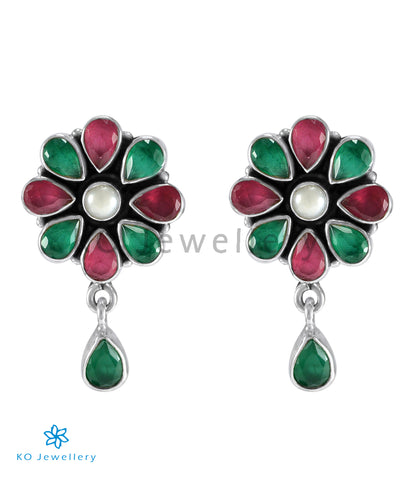 The Aamod Silver Gemstone Ear-stud (Multicolour)
