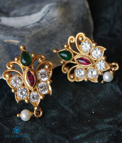 The Advika Silver Kempu Ear-Studs(Pearl)