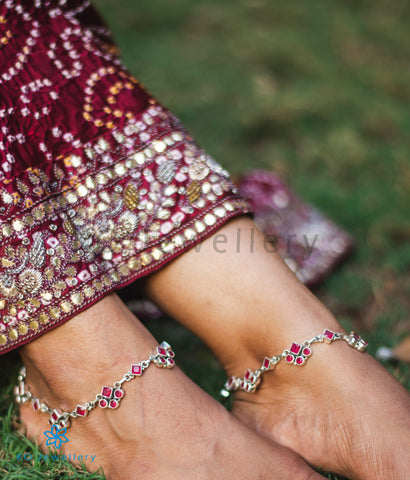 The Pratham Silver Gemstone Anklets (Red)