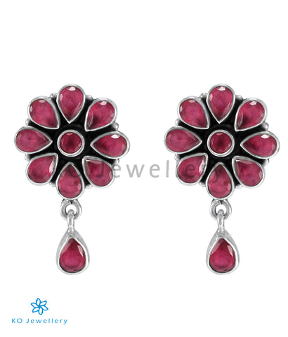 The Aamod Silver Gemstone Ear-stud (Red)