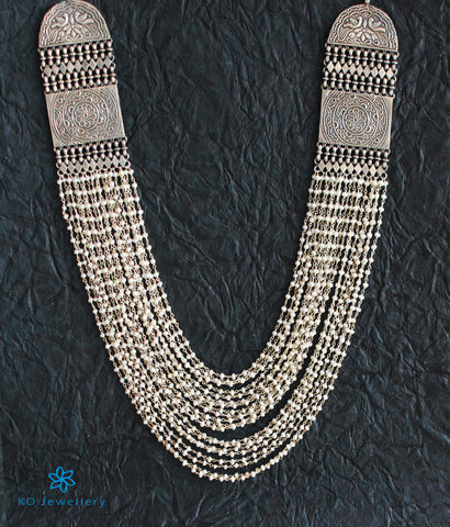 The Meghaja Silver Layered Pearl Necklace (Oxidised)