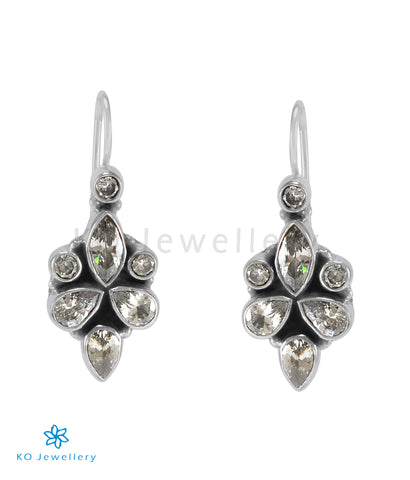 The Ragini Silver Gemstone Earrings (White)