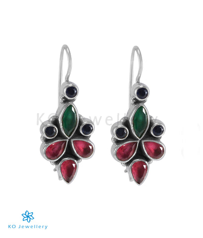 The Ragini Silver Gemstone Earrings (Multicolor)