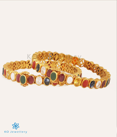 The Medha Silver Navratna Gemstone Bangle