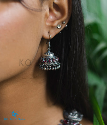 The Madhurya Silver Jhumka (Red/Oxidised)