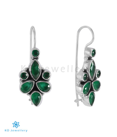 The Ragini Silver Gemstone Earrings (Green)
