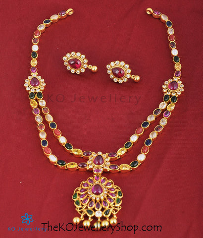 The Ksemya Silver Navratna Necklace