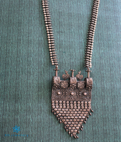 The Dyuga Silver Peacock Necklace