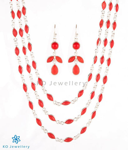 Handmade powdered coral and silver necklace set online