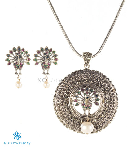 The Hritvi Silver Peacock Pendant Set