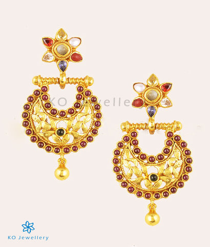 The Navratna Silver Chand Bali Earrings(Small)