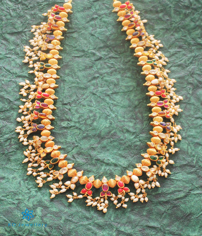 The Sampriti Silver Navratna Necklace (Long)