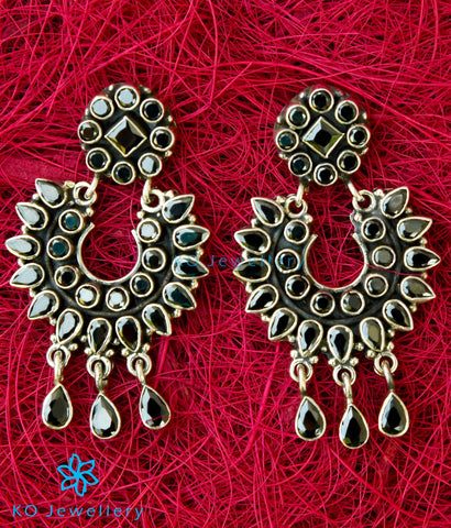 The Pranav Silver Gemstone Earrings(Black)