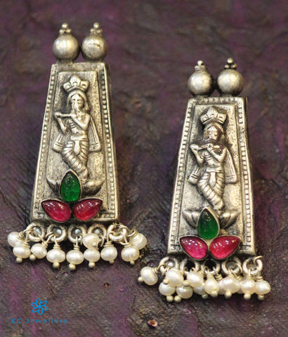 The Avyukta Silver Krishna Earrings (Red/Green)