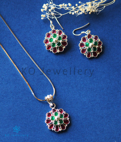 The Samad Silver Gemstone Pendant Set (Multicolour)
