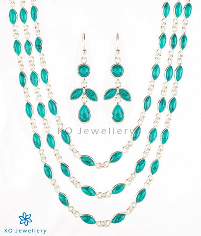 Charming turquoise and silver three-string long necklace