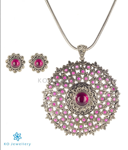 The Mia Silver Marcasite Pendant Set