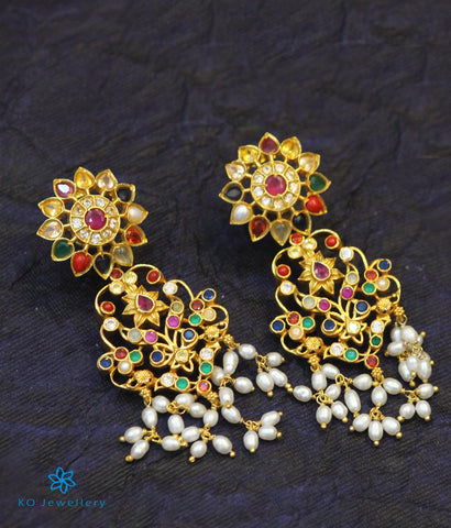 The Puspavat Silver Navratna Earrings