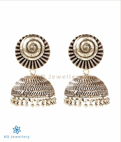 The Shankh Silver Oxidised Jhumka