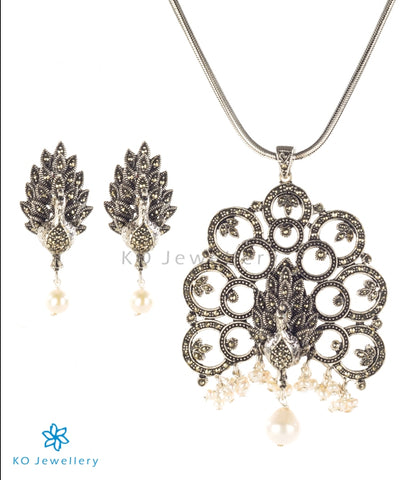 The Varnaka Silver Marcasite Pendant Set