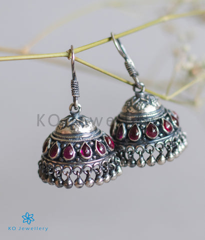 The Ahalya Silver Kempu Jhumka (Oxidised/Hook)