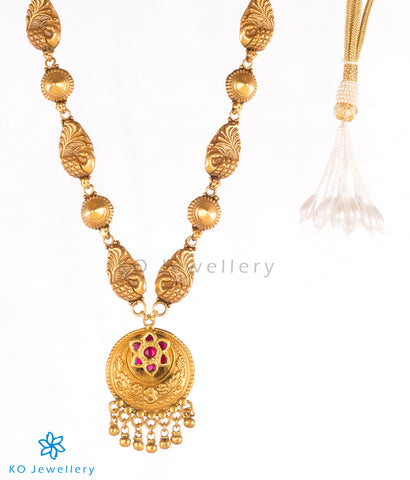Handcrafted, 24-karat gold plated long necklace