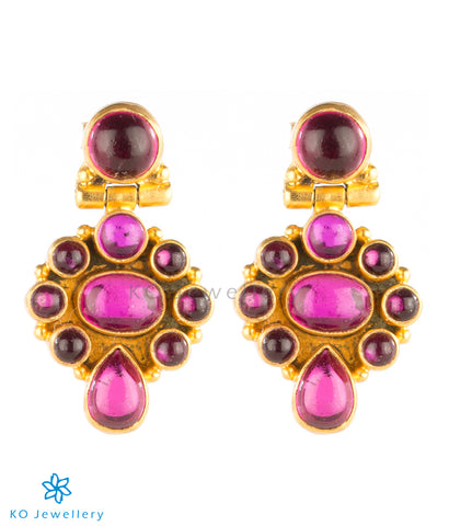 Wine red earrings office wear jewellery gold plated