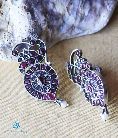 The Rehina Silver Peacock Earrings(Oxidised)