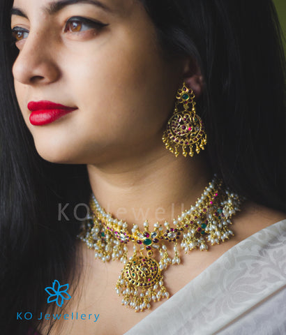 Gold plated silver necklace antique Indian jewellery designs