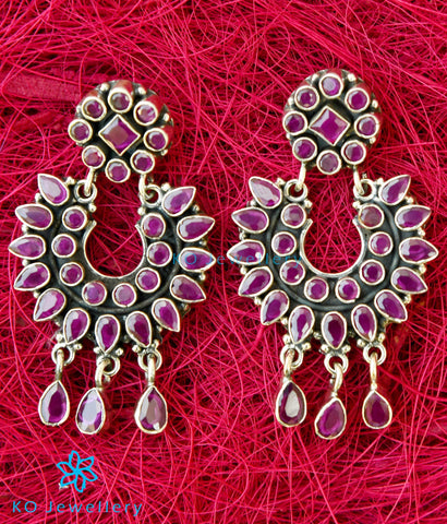 The Pranav Silver Gemstone Earrings(Red)