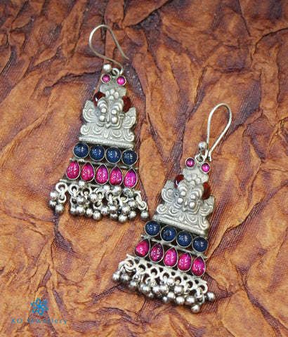 The Purvika Silver Earrings (Red)