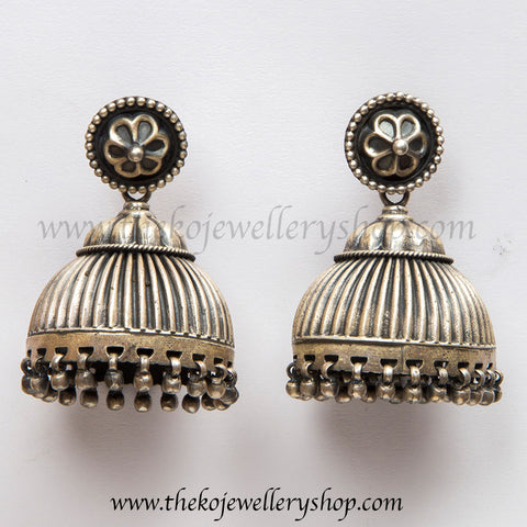 Hand crafted oxidised silver jhumka shop online