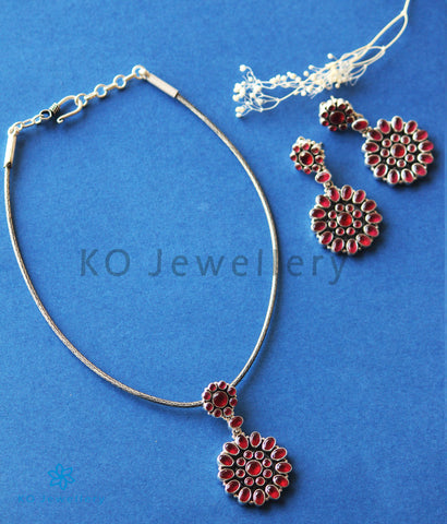 The Param Silver Gemstone Necklace (Red)
