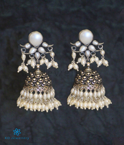 The Puskara Silver Antique Jhumka (Pearl)